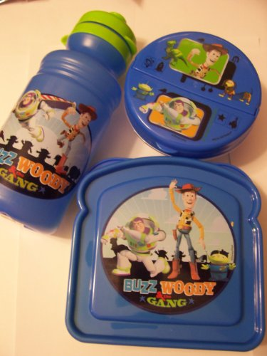 Disney Toy Story 3 Piece Snack Set ~ Sports Bottle, Bread Container, Snack Container (Blue with Woody, Buzz, Alien, Rex)