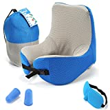 bag with hood - Neck Pillow for Travel Airplane Bus Car Office,100% Memory Foam ,U Shape Neck Pillow with Sheep Mask Ear Plugs,Detachable Hood Adjustable Neck Size ,Travel bag(color:blue)