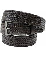 Hugo Boss Cersten Men's Skinny Dark Brown Braided Leather Belt