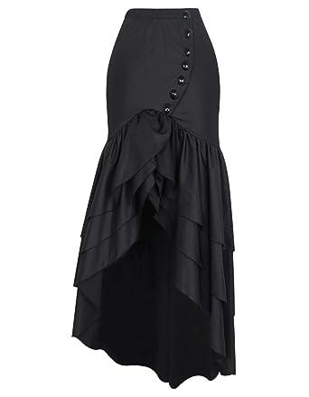 Señoras del Verano con Volantes Falda Único Negra Cola De De ...