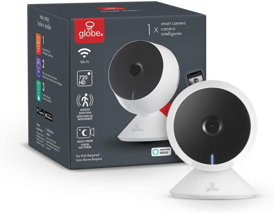 Globe Electric Collection Wi-Fi Smart Indoor Security Camera, No Hub Required, Activated, 720p, Motion Detection, 2-Way Voice, Night Vision, White 50054
