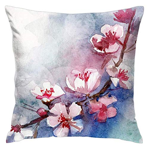haiqingcjhov Throw Pillow Covers Decorative Pillow Covers Cushion Case for Home Sofa Decor Watercolor Cherry Blossoms 20X20 ()