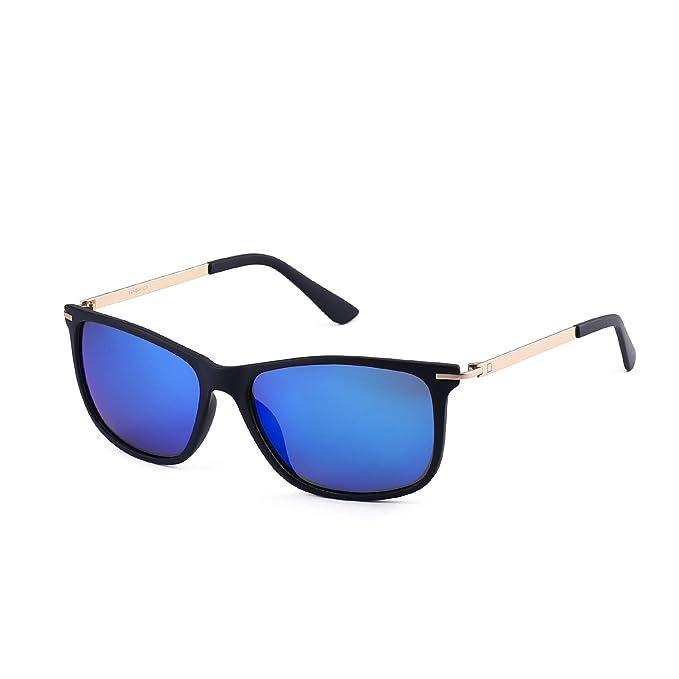 15035a8deb Amazon.com  Polarized Square Retro Driving Vintage Night Vision Metal Sun  glasses Light Weight 4 Colors 1533 (lens blue frame matte blue)  Clothing