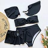 Ohvivid Women Retro Flounce High Waisted Bikini Off Shoulder Two Piece Swimsuit with Ruffle Bottoms Black Ladies Chic Bikini