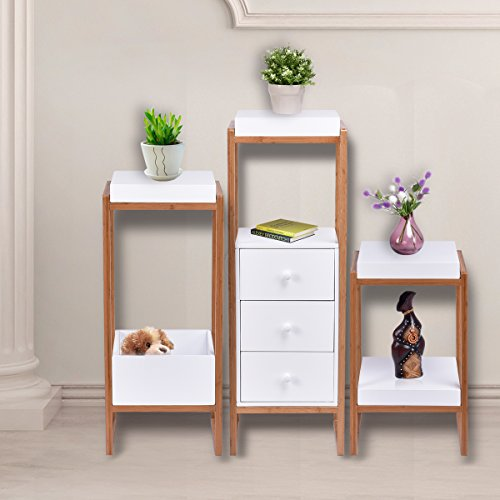 Giantex 3PCS End Table Set Bedroom Accent Storage Shelf Night Stand Display Home Furniture