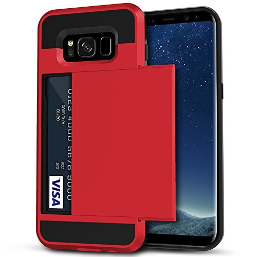 Galaxy S8 Plus Case, Anuck Slide Cover Galaxy S8 Plus Wallet Case [Card Pocket][Hard Shell] Shockproof Armor Rubber Bumper Case With Slidable Card Slot Holder for Samsung Galaxy S8 Plus