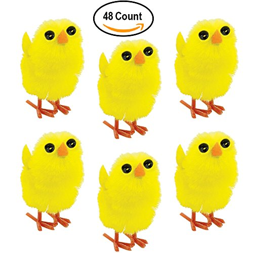 48 Miniature Chenille Baby Chicks for Easter or Arts and Crafts