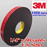 """Genuine 3M 1/4"""" (0.6mm) x 108 Ft (36 Yards) VHB Double Sided Foam Adhesive Tape 5952 Grey Automotive Mounting Very High Bond Strong Industrial Grade (1/4"""" (w) x 108 ft)"""