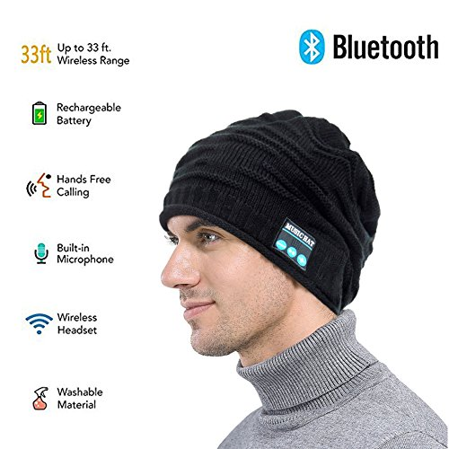 Review Wireless Bluetooth Beanie ,Unisex Outdoor Sport Knit Hat with Stereo Speakers & Microphone