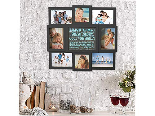 Lаvish Hоmе Home Decor 80-COLL-4 Family Rules Collage Picture Frame with 8 Openings for Six 4x6 and Two 4x4 Photos-Wall Hanging Display for Personalized Decor (Black)