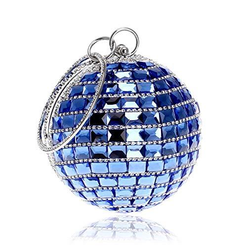 Sac Bleu Sphérique De Robe couleur Soirée Pour Blanc Femme Diamants Incrusté Uiophjkl Embrayage Rond TIq8O