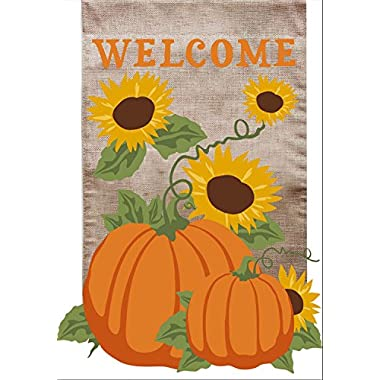 Welcome Fall Burlap Garden Flag Sunflowers Pumpkins 12.5  x 18  Briarwood Lane