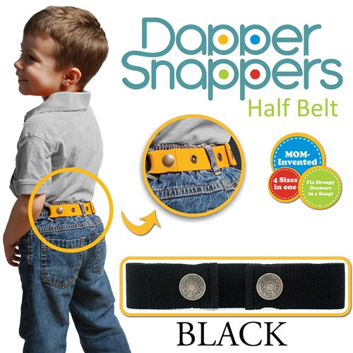Toddler Adjustable Elastic Belts (Dapper Snapper Made in USA Original Toddler Adjustable Belt-Black)