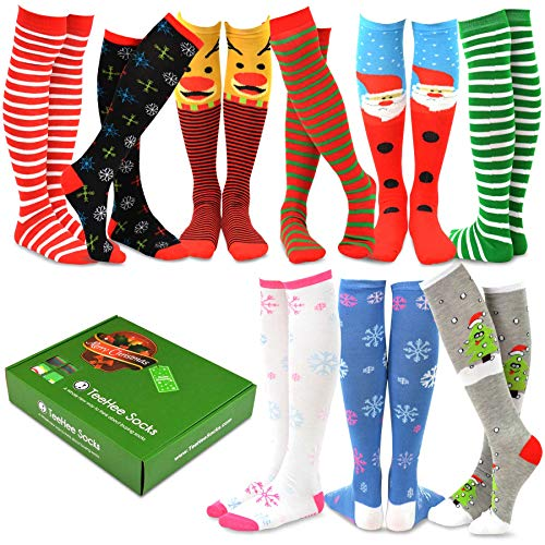 TeeHee Special (Holiday) Women Knee High 9-Pairs Socks with Gift Box (Christmas)]()