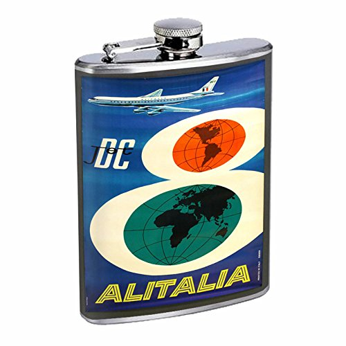 perfection-in-style-stainless-steel-flask-8oz-vintage-poster-d-076-dc-jet-airlines-alitalia