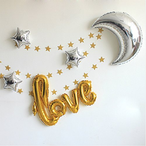 "42 Inch ""Love"" and 36 Inch Moon Large Size Foil Balloons Air-Filled/Helium Balloon for Party Show Performance Wedding Baby Shower Window Dressing Birthday Anniversary Decoration (Gold Set)"