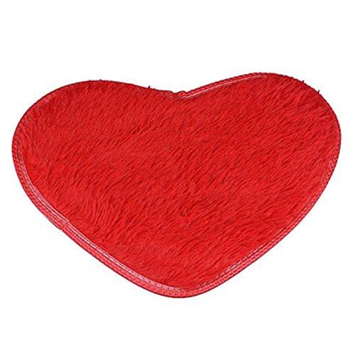 (Clearance Tuscom Heart Shape Anti-Skid Fluffy Shaggy Area Rug,40X 50cm,for Home Bedroom Bathroom Floor Door Mat(7 Colors) (Red))