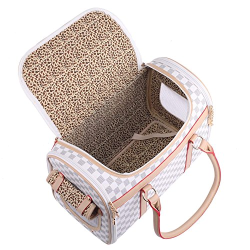 (BELLAMORE GIFT Pet Carrier Bag Travel Carrying Handbag for Chihuahua Puppy Cat Yorkie Dog (White))