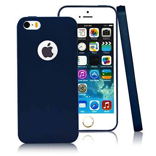 (CLOUDS CLOUDS iPhone 5 5S Case- Ultra Slim Lightweight Classic Design Durable Soft Rubber TPU Silicone Gel Case Cover for iPhone 5S/5- Navy Blue)