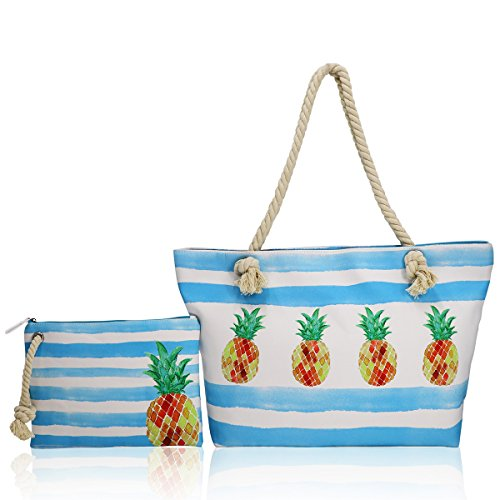 - SY-Athena SY-Athena Extra Large Women Beach Tote Bag with Inner Pocket, Top Zipper Boat Bag (pineapple)