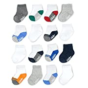 Goldbug Baby Boys 16-Pack Multi Size Socks, Crew, Basics/Toe/Heel Pop, 0-3 and 3-12 Months