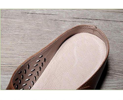 Rétro Creux Femme Baotou ZFNYY Demi Fond Porter Pantoufles Chaussons Femme Cool Respirant Pantoufles Brown Mou ITqCcwCSx