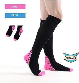 ZSZBACE Chaussettes de Compression graduées pour Hommes et Femmes, (1 Paire), idéales pour Le Crossfit, la Course à Pied, l'athlétisme, Les Voyages, Les infirmières et Les Sportifs.