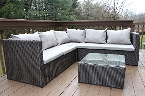 Oliver Smith   Large 4 Pc Modern Rattan Wiker Sectional Sofa Set Outdoor Patio  Furniture   Fully Assembled   Aluminum ...
