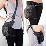 GEANBAYE Women Fashion Chain Bag Steampunk Retro Motorcycle Club Shoulder Waist Bag Black (Styles)
