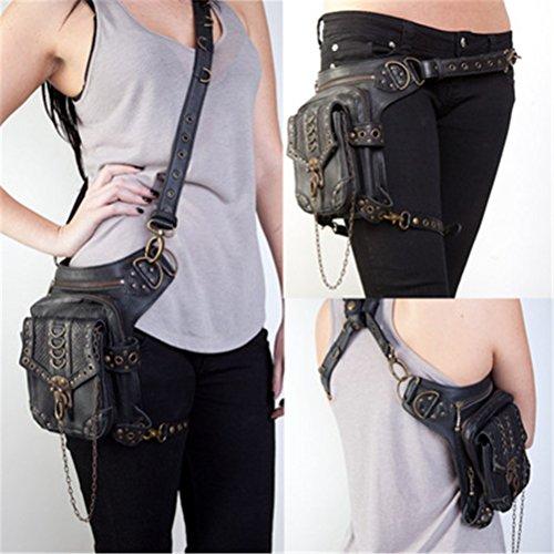 GEANBAYE Women Fashion Chain Bag Steampunk Retro Motorcycle Club Shoulder Waist Bag Black (Styles) by GEANBAYE
