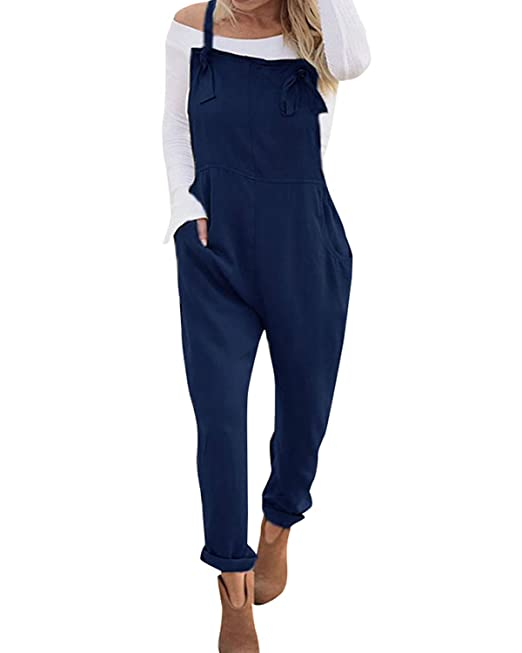 f70971555f1 VONDA Women s Strappy Jumpsuits Overalls Casual Harem Wide Leg Dungarees  Rompers Adjustable Straps-Navy S