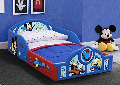 Disney Mickey Mouse Deluxe Toddler Bed with Attached Guardrails by Delta Children