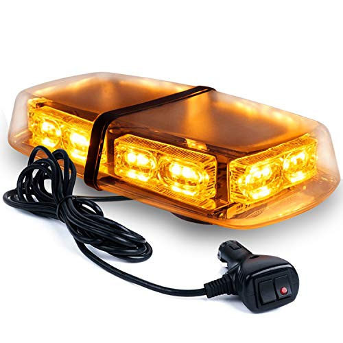 Linkitom LED Strobe Warning Light -36 LED High Intensity Emergency Flashing Lamps/Hazard Warning Mini Lighting Bar/Beacon/with Magnetic Base for Car Trailer Roof Safety (Amber)