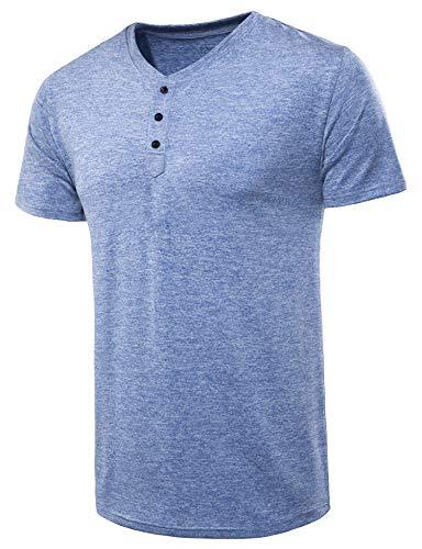 (VANCOOG Men's Classic Comfort Soft Slim Fit Short Sleeve Henley T-Shirt Tee-Blue-S )