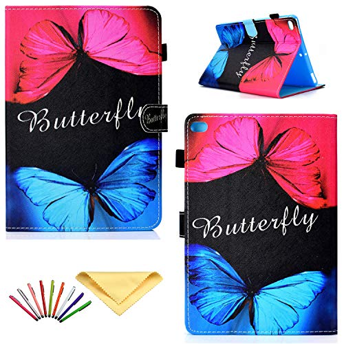 Uliking iPad 9.7 2018 2017 Case (iPad 6th/5th Generation), Apple iPad Air/Air 2 Cover, Smart Folio Stand PU Leather TPU Shell Auto Sleep/Wake Cover Card Slots Pencil Holder, Blue Red Butterfly