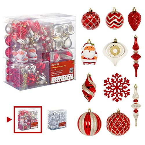 Homde Christmas Balls Ornaments 77ct Includes Santa Claus Snowflakes for Xmas Tree Shatterproof Christmas Tree Decorations with Hanging Rope (Red & Gold)  (Christmas Decoratons)