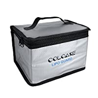 COLCASE Fireproof Explosionproof Lipo Safe Bag for Lipo Battery Storage and Charging , Large Space Highly Sturdy Double Zipper Lipo Battery Bag (198x150x135mm)