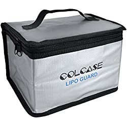 COLCASE Fireproof Explosionproof Lipo Safe Bag for Lipo Battery Storage and Charging , Large Space Highly Sturdy Double Zipper Lipo Battery Guard (198x150x135mm)