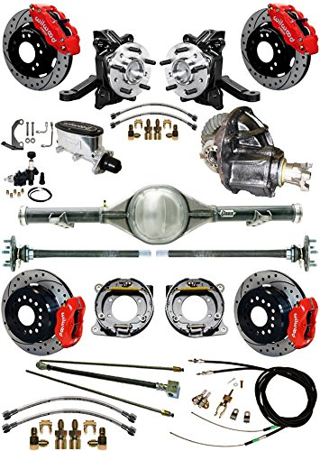 """NEW SUSPENSION & BRAKE SET WITH CURRIE REAR END & AXLES, 2 1/2"""" DROP SPINDLES, POSI GEAR, RED WILWOOD CALIPERS, DRILLED DISCS, LINES, 1963-1970 CHEVY C10 GMC C15 2WD TRUCKS 1965 1966 1967 1968 1969 -  Southwest Speed, GMC6370X5-K14"""