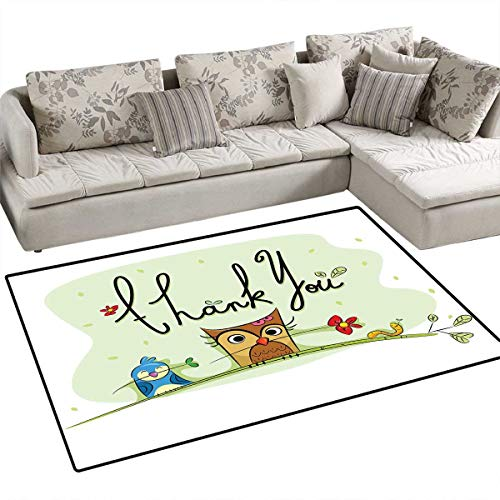 Animal Area Rugs for Bedroom Chubby Little Birds Owl Worm and Sparrow and Flowers with Thank You Quote Artwork Print Door Mats for Inside Non Slip Backing 3'x5' Green