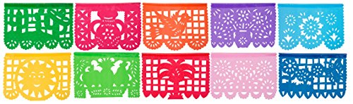 Small Plastic Papel Picado Banner El Jardin with 10 Plastic Panels - Over 6 feet Long Designs and Colors as Pictured by Paper Full of Wishes