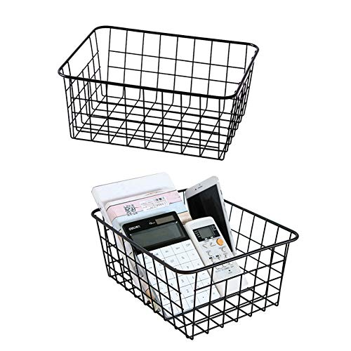Metal Wire Storage Basket with Handles for Kitchen Food Pantry Papers Home Office Desk Shelf Bathroom Laundry Room Shelf Bedroom Bed Room, 2PCS (Black) (Small Baskets With Metal Handles)