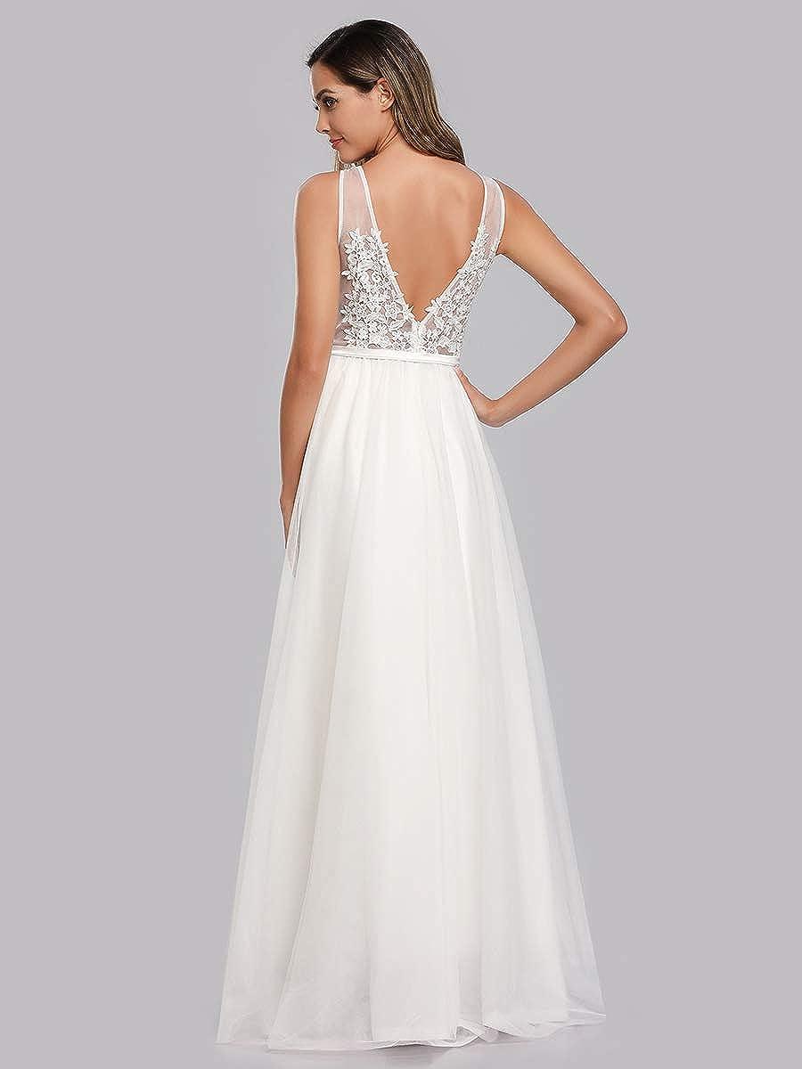 Ever-Pretty Vestito da Cerimonia Donna A Fiori Tulle Scollo a V Linea ad A Senza Maniche Lungo 07544