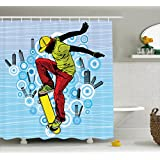 Ambesonne Youth Shower Curtain, Teenager Playing Skateboard on Street with Abstract City Background Circles Buildings, Cloth Fabric Bathroom Decor Set with Hooks, 75 Inches Long, Multicolor