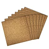 Thornton's Office Supplies Modular Frameless Cork Mini Wall Bulletin Board Tiles with 3M Adhesive, Natural, 12 inch x 12 inch, Frameless (8 Pack)