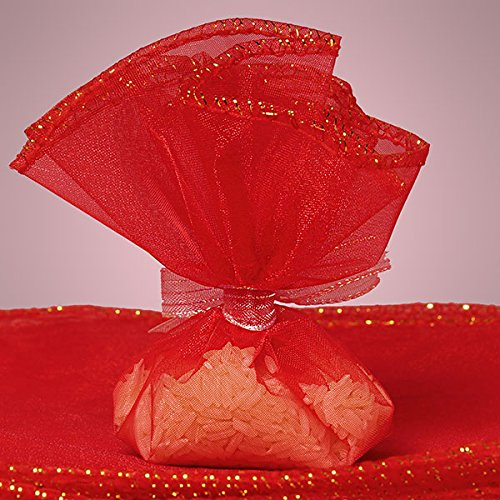 Red Organza Circles with Gold Trim 10