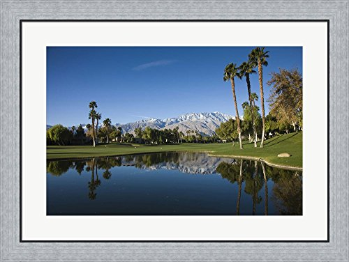 Pond in a golf course, Desert Princess Country Club, Palm Springs, Riverside County, California, USA by Panoramic Images Framed Art Print Wall Picture, Flat Silver Frame, 32 x 24 inches (Desert Princess Country Club)