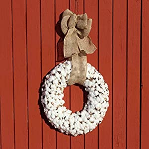 Cotton Wreath With Burlap Bow For Rustic Farmhouse Decor - 18 inches 3