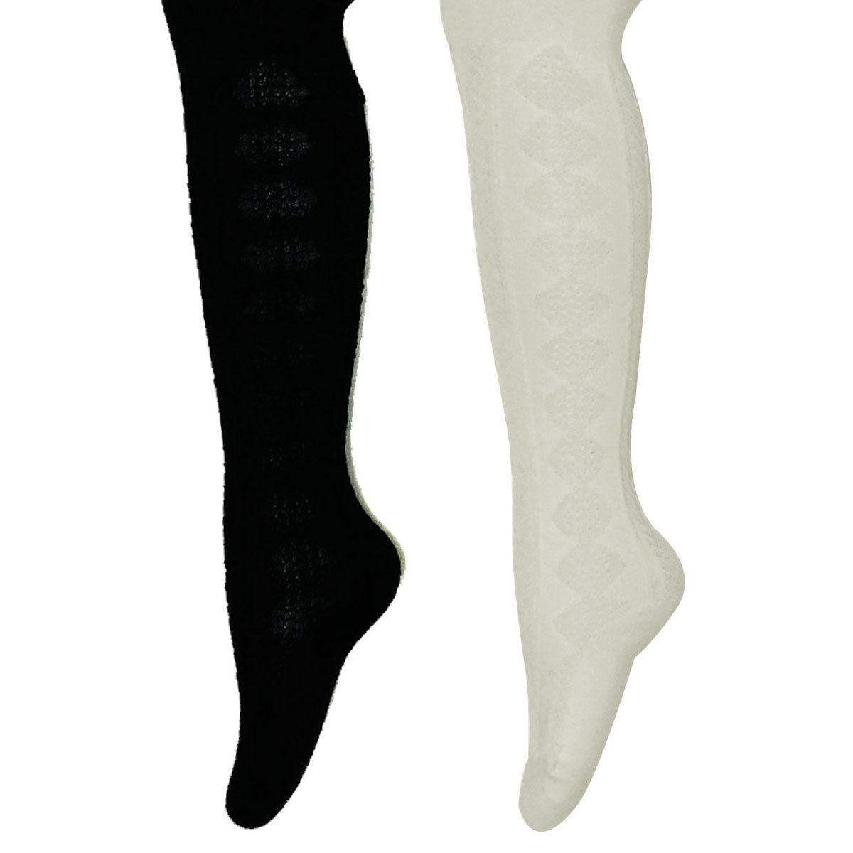Allydrew Little Girls Thick Cable Knit Tights (Set of 2), Cream and Black (Size 5-6)
