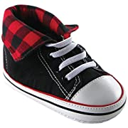 Luvable Friends Fold-Down Hi-Top Sneakers (Infant), Red, 6-12 Months M US Infant